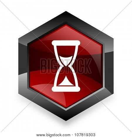 time red hexagon 3d modern design icon on white background