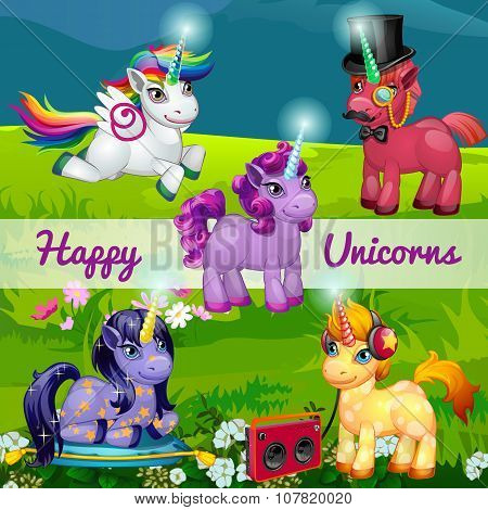 Unusual cartoon unicorns in a meadow, set of five characters