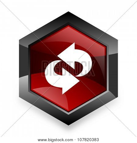 rotation red hexagon 3d modern design icon on white background