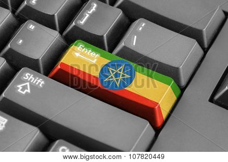 Enter Button With Ethiopia Flag