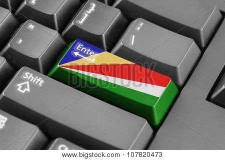 Enter Button With Seychelles Flag