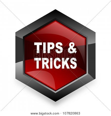 tips tricks red hexagon 3d modern design icon on white background