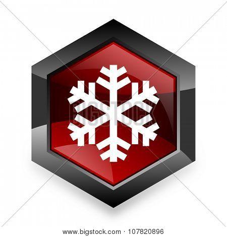 snow red hexagon 3d modern design icon on white background