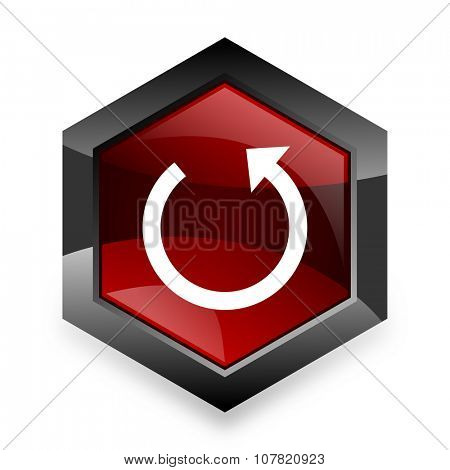 rotate red hexagon 3d modern design icon on white background