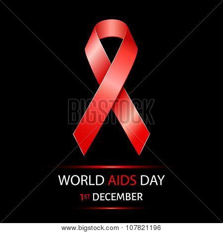 World Aids Day background with red ribbon of aids awareness.