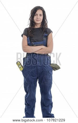 Worker Woman With Overalls.