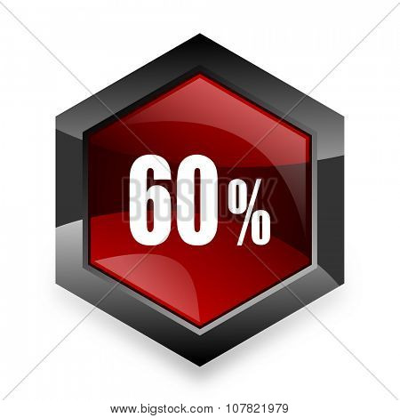 60 percent red hexagon 3d modern design icon on white background