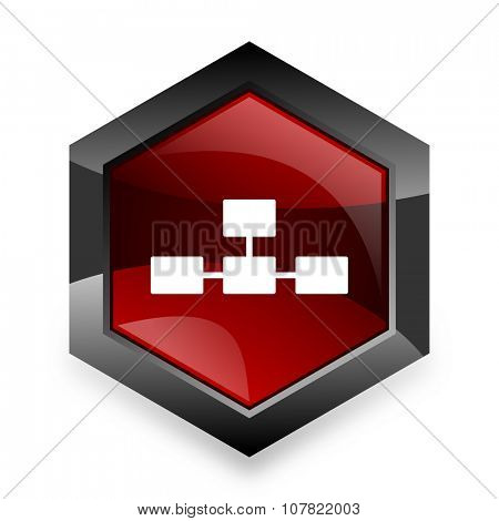 database red hexagon 3d modern design icon on white background