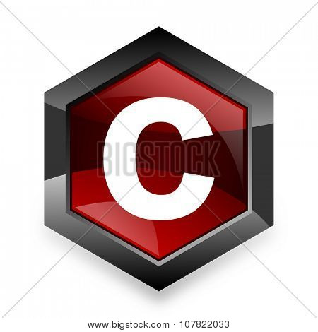 copyright red hexagon 3d modern design icon on white background
