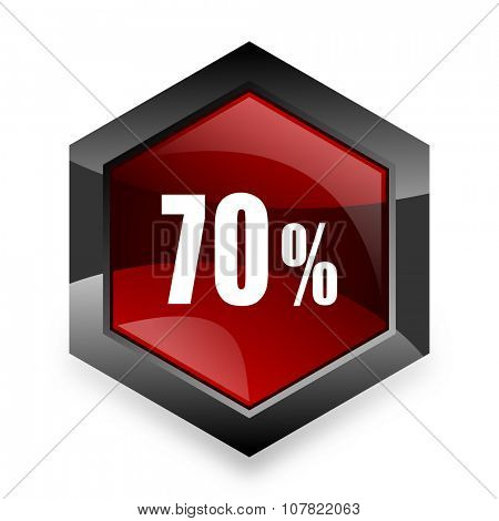 70 percent red hexagon 3d modern design icon on white background