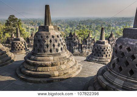 Buddist Temple Borobudur On Sunset Background. Yogyakarta. Java, Indonesia