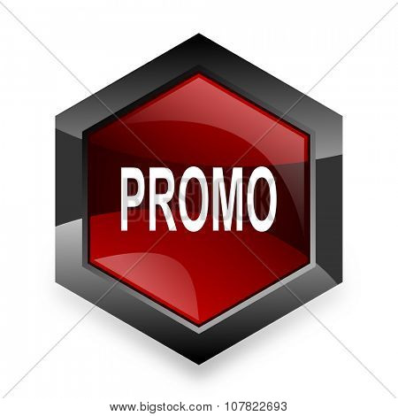 promo red hexagon 3d modern design icon on white background