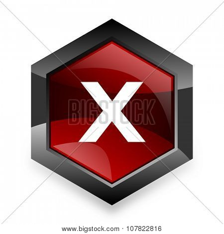 cancel red hexagon 3d modern design icon on white background