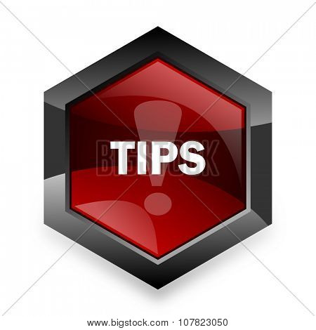 tips red hexagon 3d modern design icon on white background