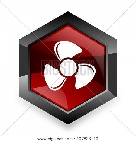 fan red hexagon 3d modern design icon on white background