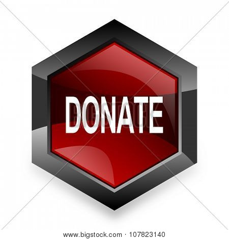 donate red hexagon 3d modern design icon on white background