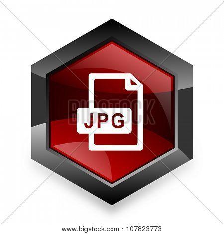 jpg file red hexagon 3d modern design icon on white background