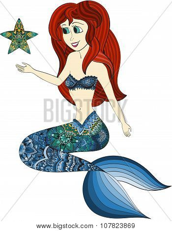 Hand drawn illustration of Ornamental Mermaid. Shaped Mermaid