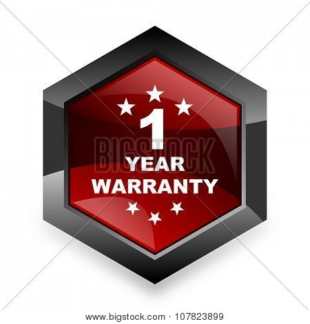warranty guarantee 1 year red hexagon 3d modern design icon on white background