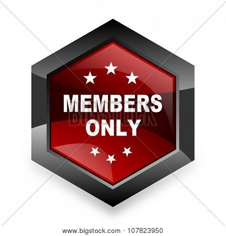 members only red hexagon 3d modern design icon on white background