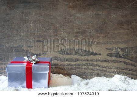 Gift box and snow