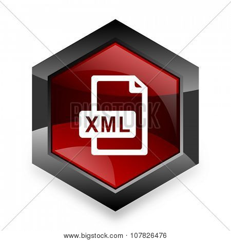 xml file red hexagon 3d modern design icon on white background