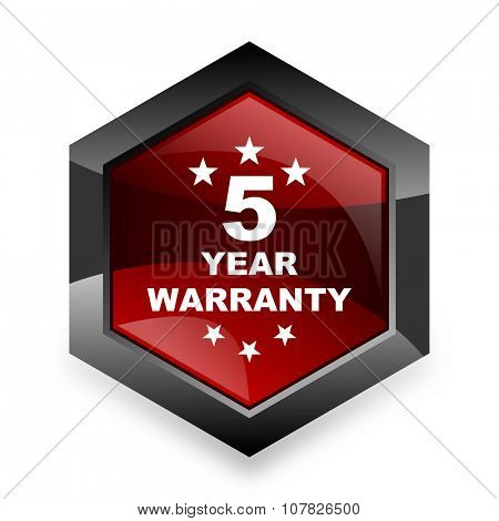 warranty guarantee 5 year red hexagon 3d modern design icon on white background