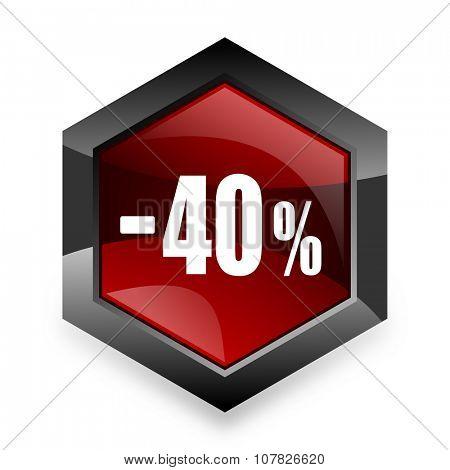 40 percent sale retail red hexagon 3d modern design icon on white background