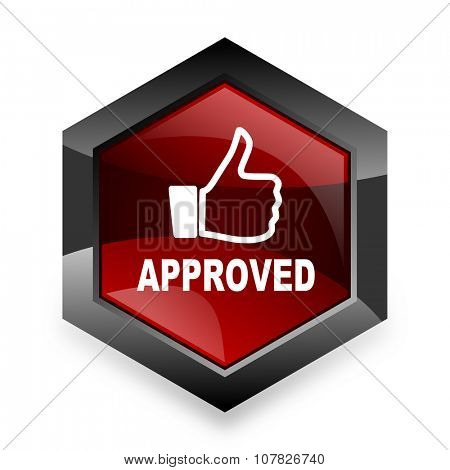 approved red hexagon 3d modern design icon on white background
