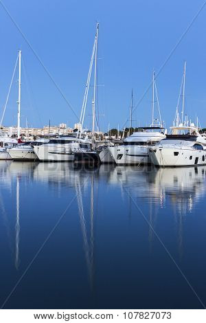 View On Boats In Port Vauban In Antibes In France