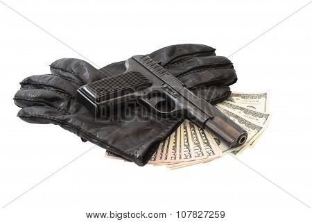 Pistol On Gloves And Money