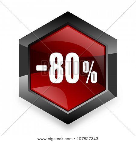 80 percent sale retail red hexagon 3d modern design icon on white background