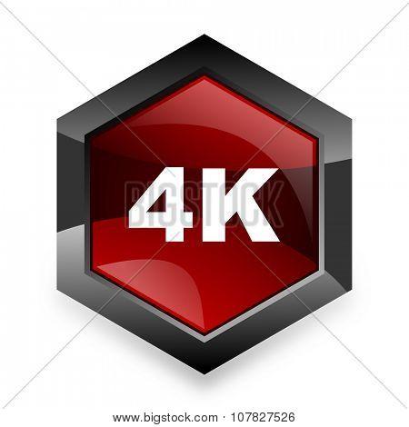 4k red hexagon 3d modern design icon on white background