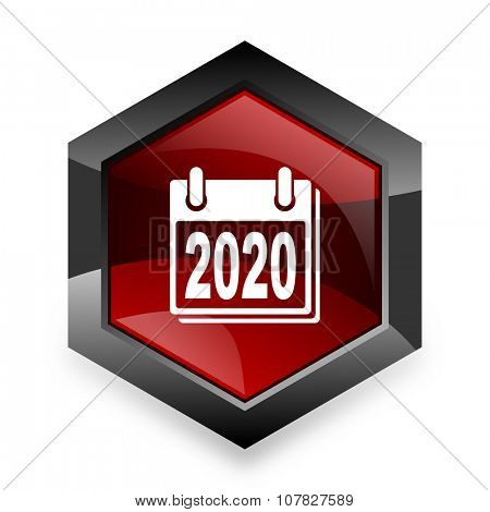 new year 2020 red hexagon 3d modern design icon on white background