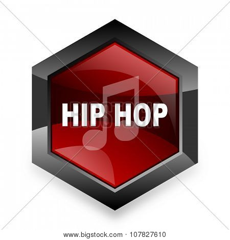hip hop red hexagon 3d modern design icon on white background