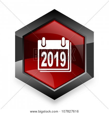 new year 2019 red hexagon 3d modern design icon on white background