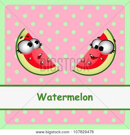 Watermelon, funny characters on pink background
