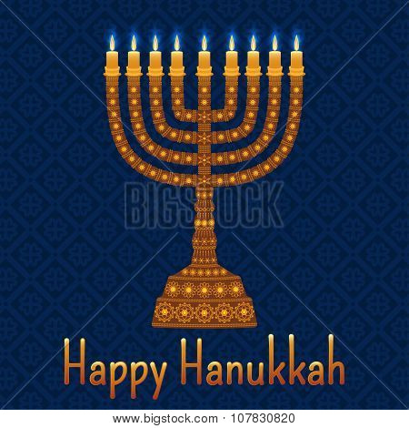 Hanukkah background with menorah and text Happy Hanukkah. Candles, David star and jewels. Beautiful