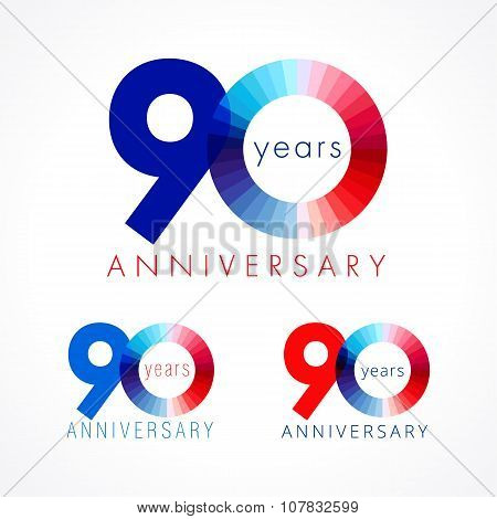 90 anniversary red and blue logo.