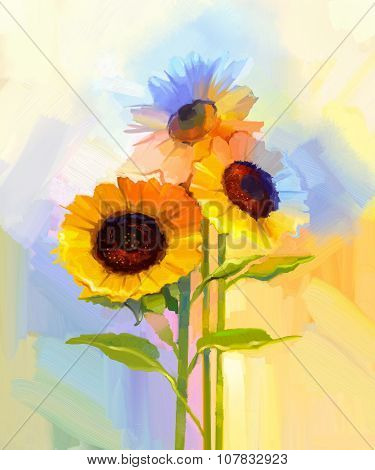 Oil Painting Yellow Sunflowers With Green Leaves