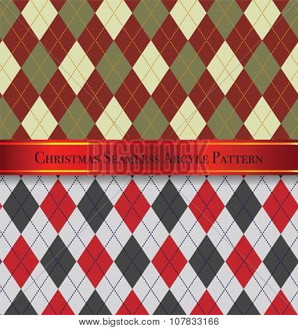 Christmas Seamless Argyle Pattern Design Set 3
