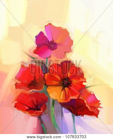 Oil Painting Red Poppy Flowers.Spring floral seasonal nature background