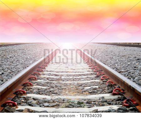 Close Up Railway Tracks With Bokeh Backgrund