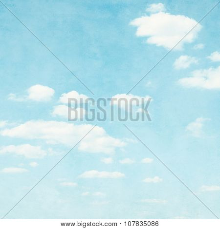Blue sky background in grunge style.