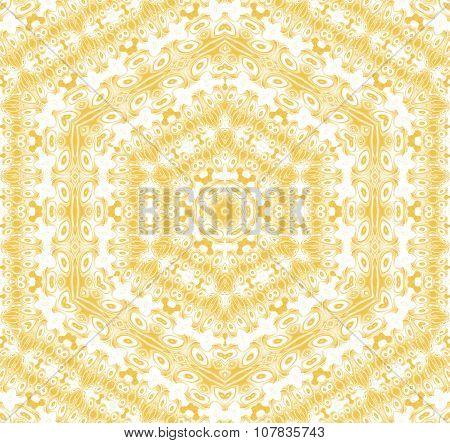 Seamless hexagon pattern yellow ocher white