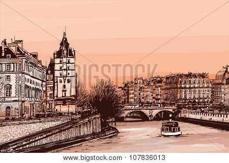 Daylight view of the ile de la Cite from