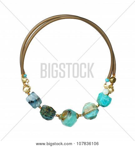 Jewelry Necklace With Natural Precious Stones Isolated On White, Path