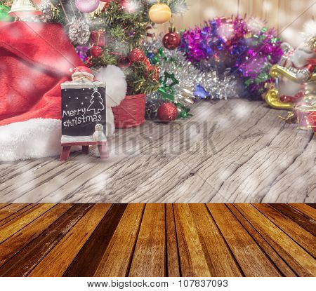 christmas ornaments  and vary of decoration on wood background.