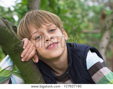 portrait of a young boy on the tree