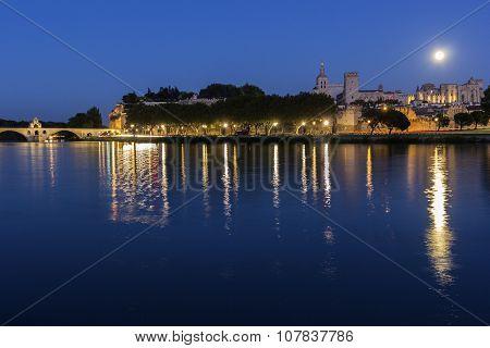 Full Moon Over Avignon In France